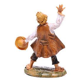 Pastor com chapéu na mão para presépio Fontanini com figuras de 4 cm de altura média s2