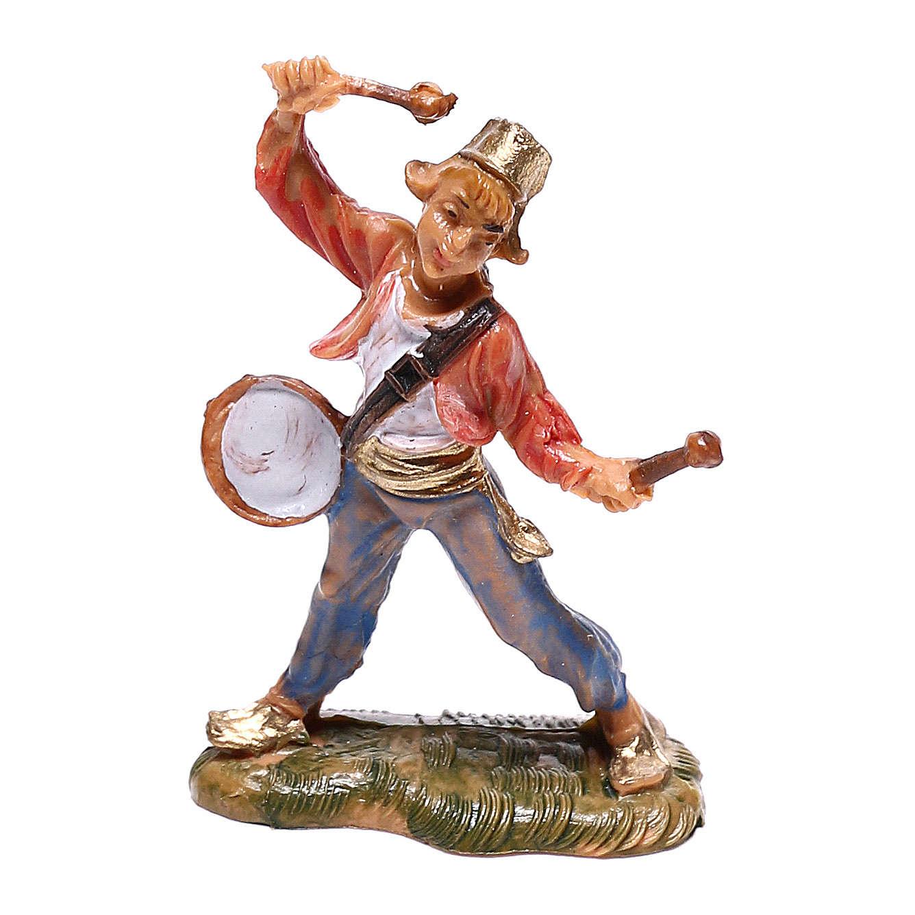 Pastor com tambor para presépio Fontanini com figuras de 4 cm de altura  média 4