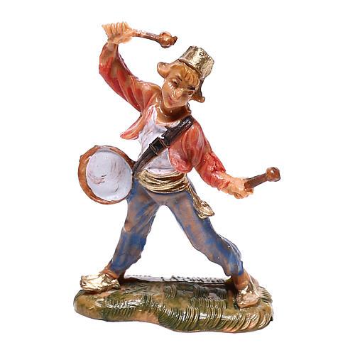 Pastor com tambor para presépio Fontanini com figuras de 4 cm de altura  média 1