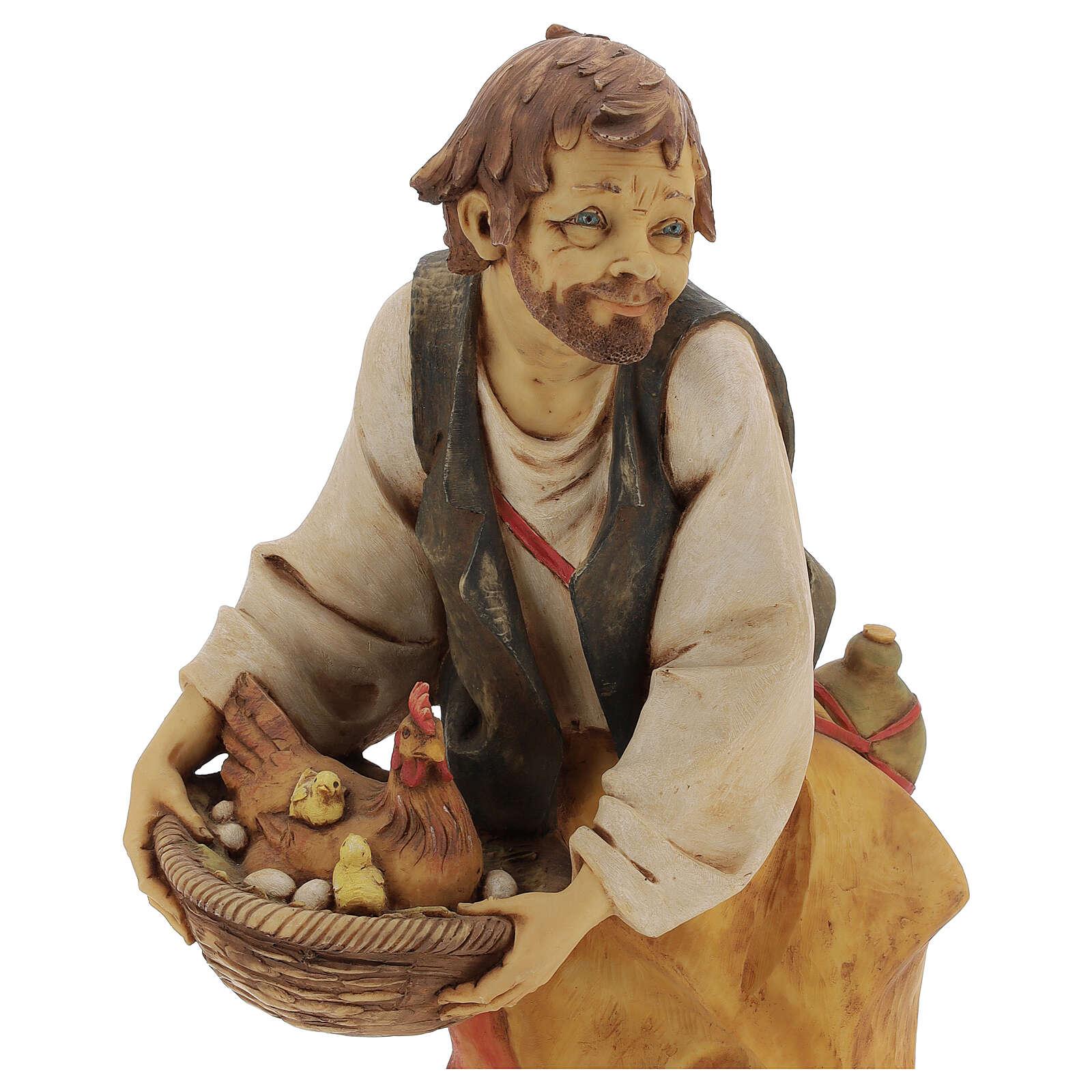 Pastor con gallina y pollitos 65 cm belén Fontanini 4
