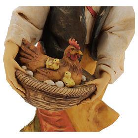 Pastore con gallina e pulcini 65 cm presepe Fontanini s4