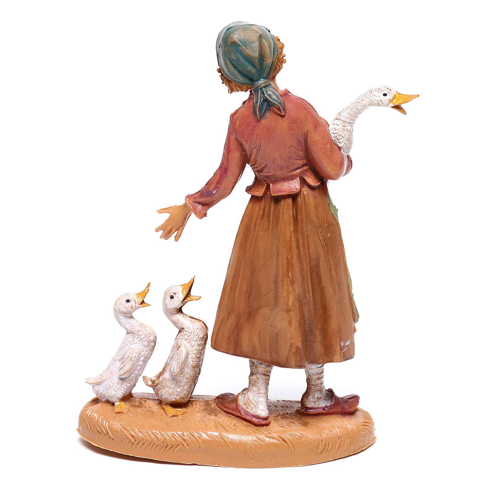 Hirtenmädchen mit Gänsen für 10 cm Krippe von Fontanini 4