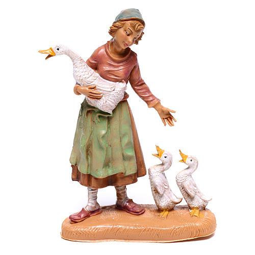 Pastorinha com gansos para presépio Fontanini com figuras de 10 cm de altura média 1