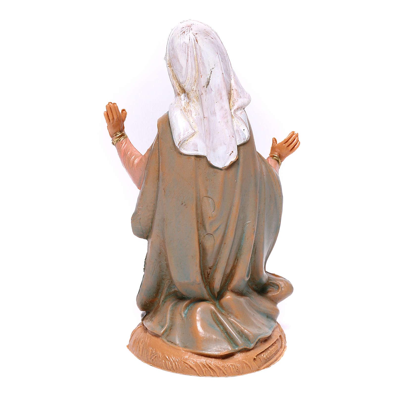 Virgen de rodillas para belén Fontanini 10 cm 4