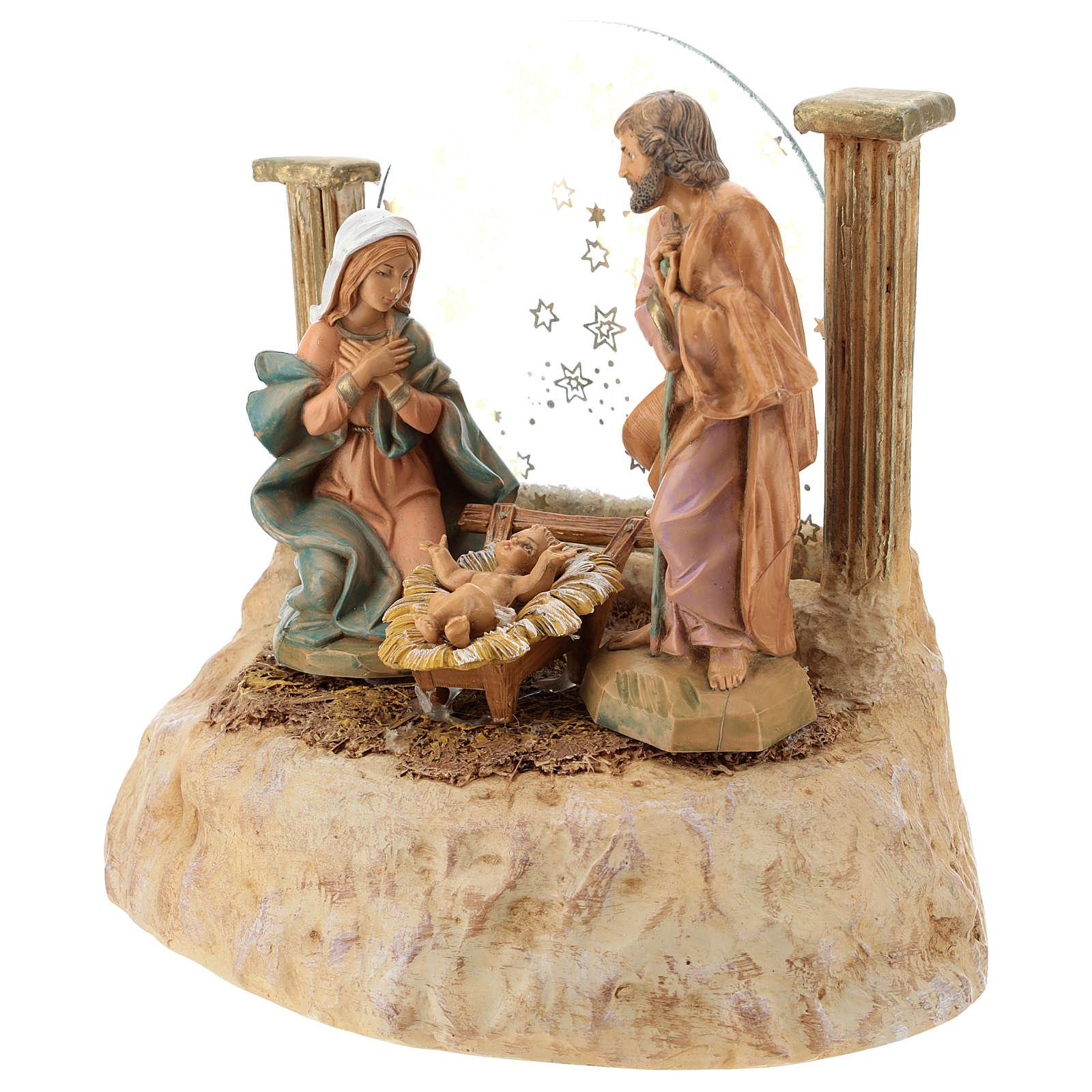 STOCK Natività in resina con carillon presepe Fontanini 17 cm 4
