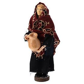 Donna con brocca terracotta e plastica presepe di 12 cm s1