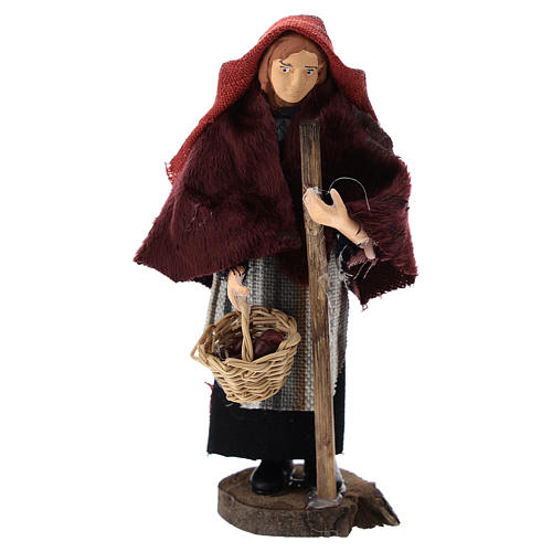 Woman with a basket for Nativity scenes of 12 cm in terracotta and plastic 1