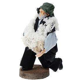 Shepherd on his knees for Nativity scenes of 12 cm in terracotta and plastic s2