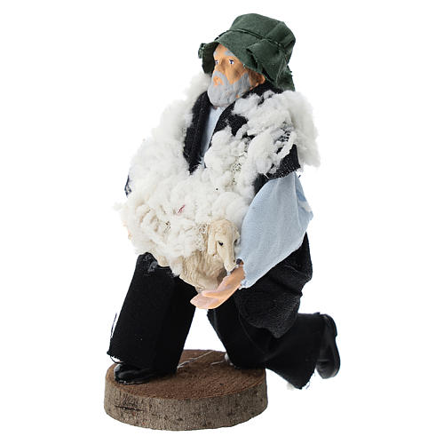 Shepherd on his knees for Nativity scenes of 12 cm in terracotta and plastic 2
