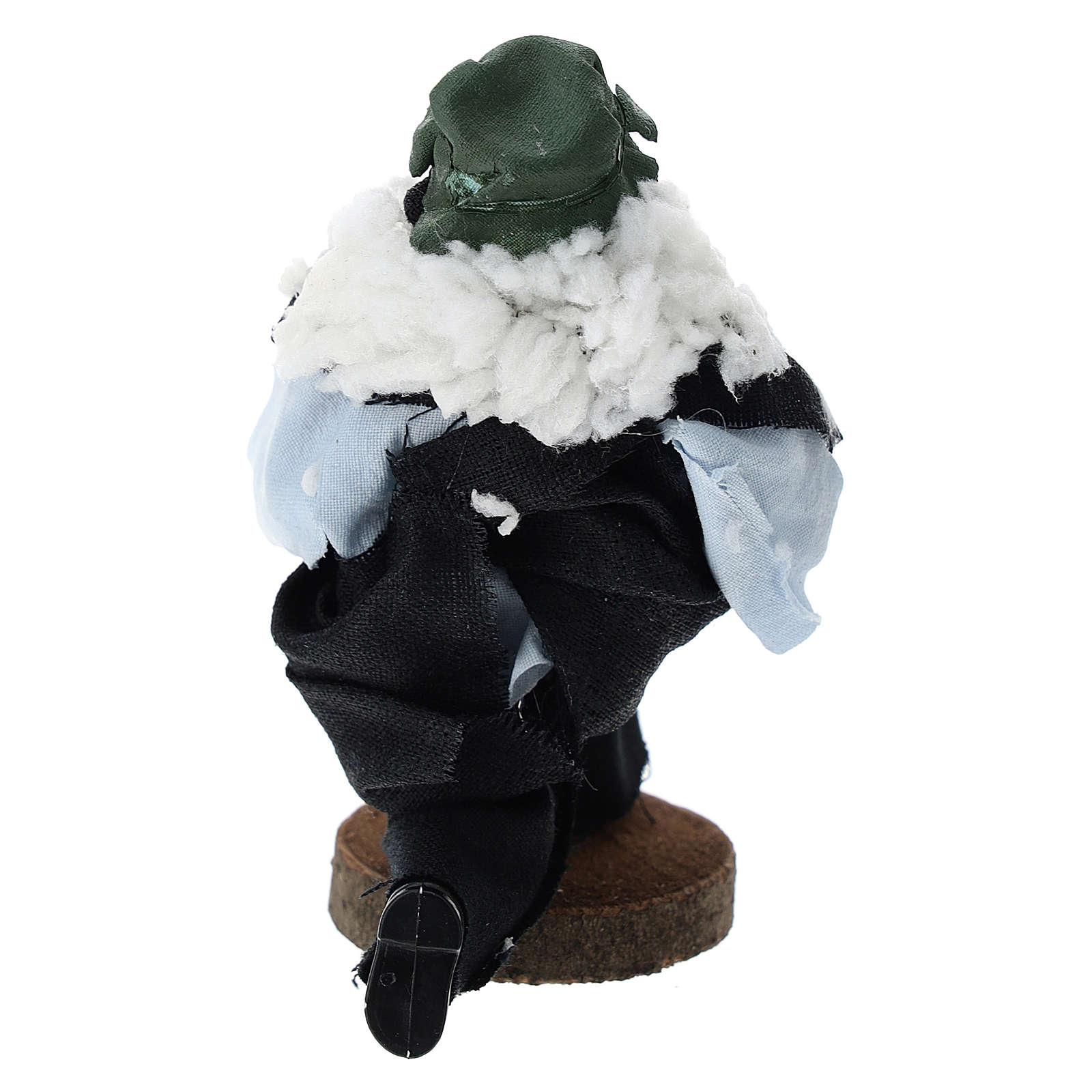 Pastor de rodillas terracota y plástico belén de 12 cm 3