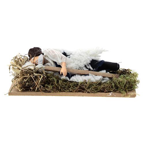 Sleeping man for Nativity scene of 12 cm in terracotta and plastic 1