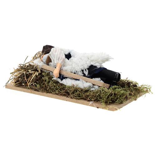 Sleeping man for Nativity scene of 12 cm in terracotta and plastic 2
