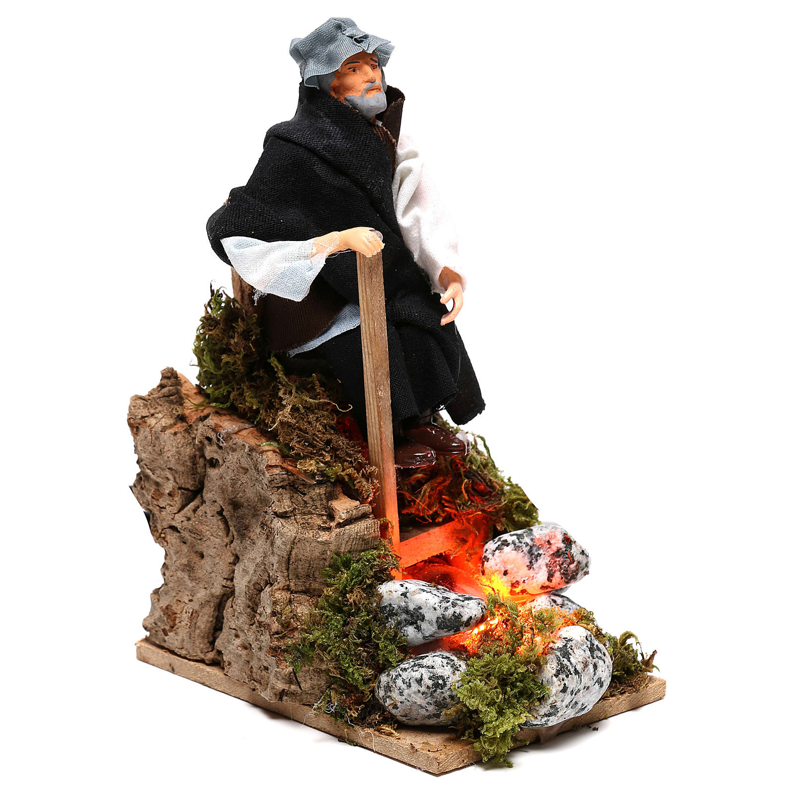 Berger près du feu avec lumière terre cuite et plastique crèche 12 cm 3