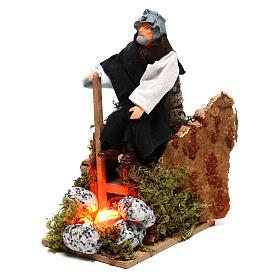 Berger près du feu avec lumière terre cuite et plastique crèche 12 cm s2