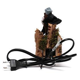 Berger près du feu avec lumière terre cuite et plastique crèche 12 cm s4
