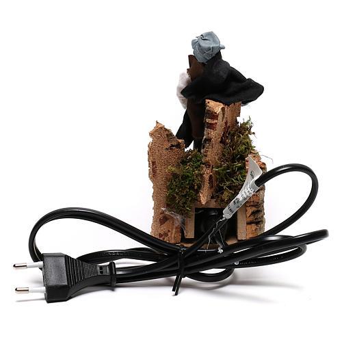 Berger près du feu avec lumière terre cuite et plastique crèche 12 cm 4