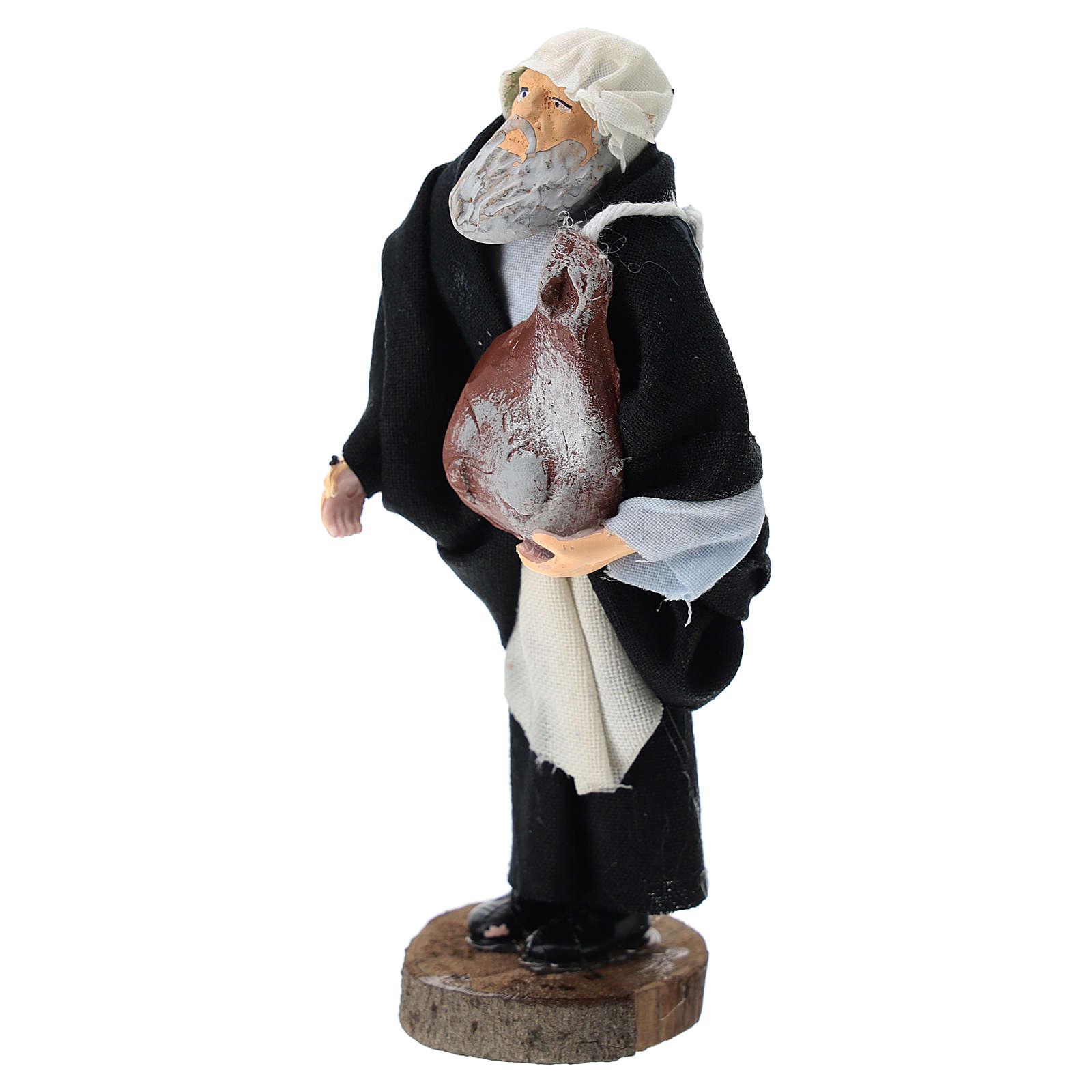 Pastore con prosciutto terracotta e plastica presepe 12 cm 3