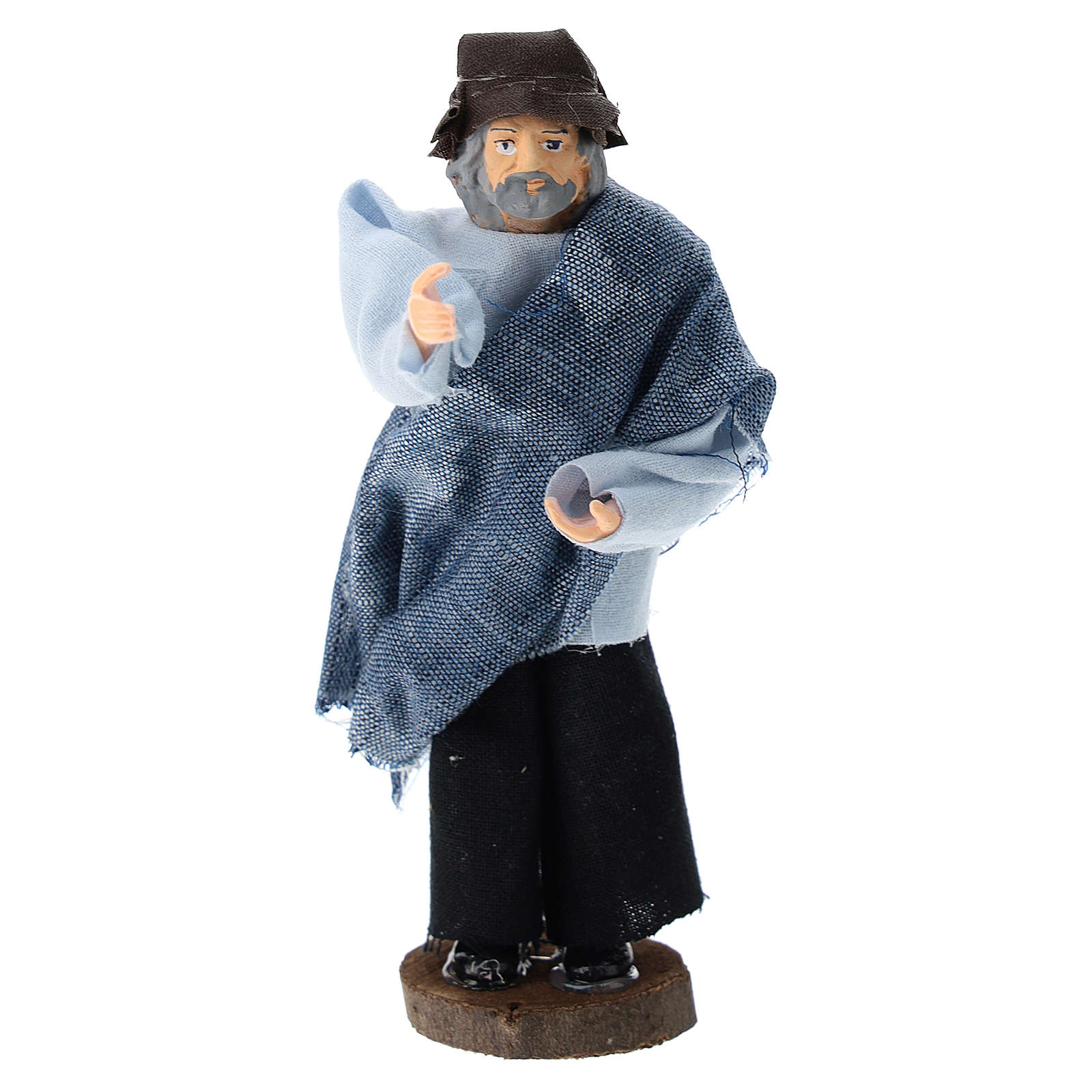 Statue of shepherd speaking for Nativity Scene of 12 cm in terracotta and plastic 3
