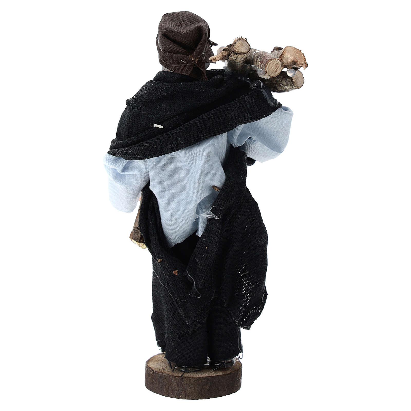 Pastor con leña terracota y plástico belén de 12 cm 3