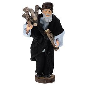 Pastor con leña terracota y plástico belén de 12 cm s1