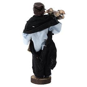 Pastor con leña terracota y plástico belén de 12 cm s3