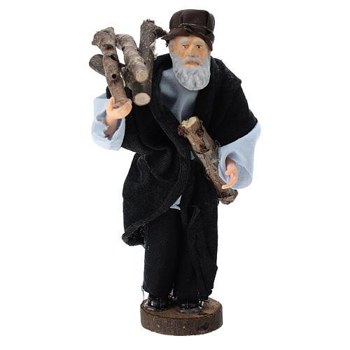 Pastor con leña terracota y plástico belén de 12 cm 1