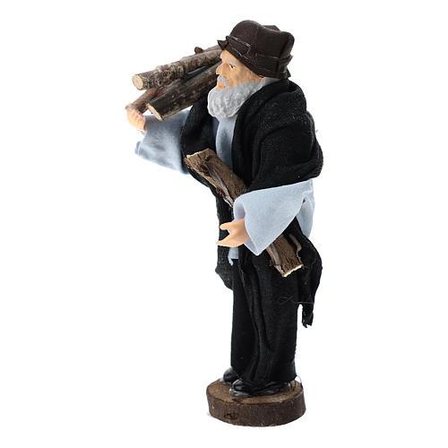 Pastor con leña terracota y plástico belén de 12 cm 2