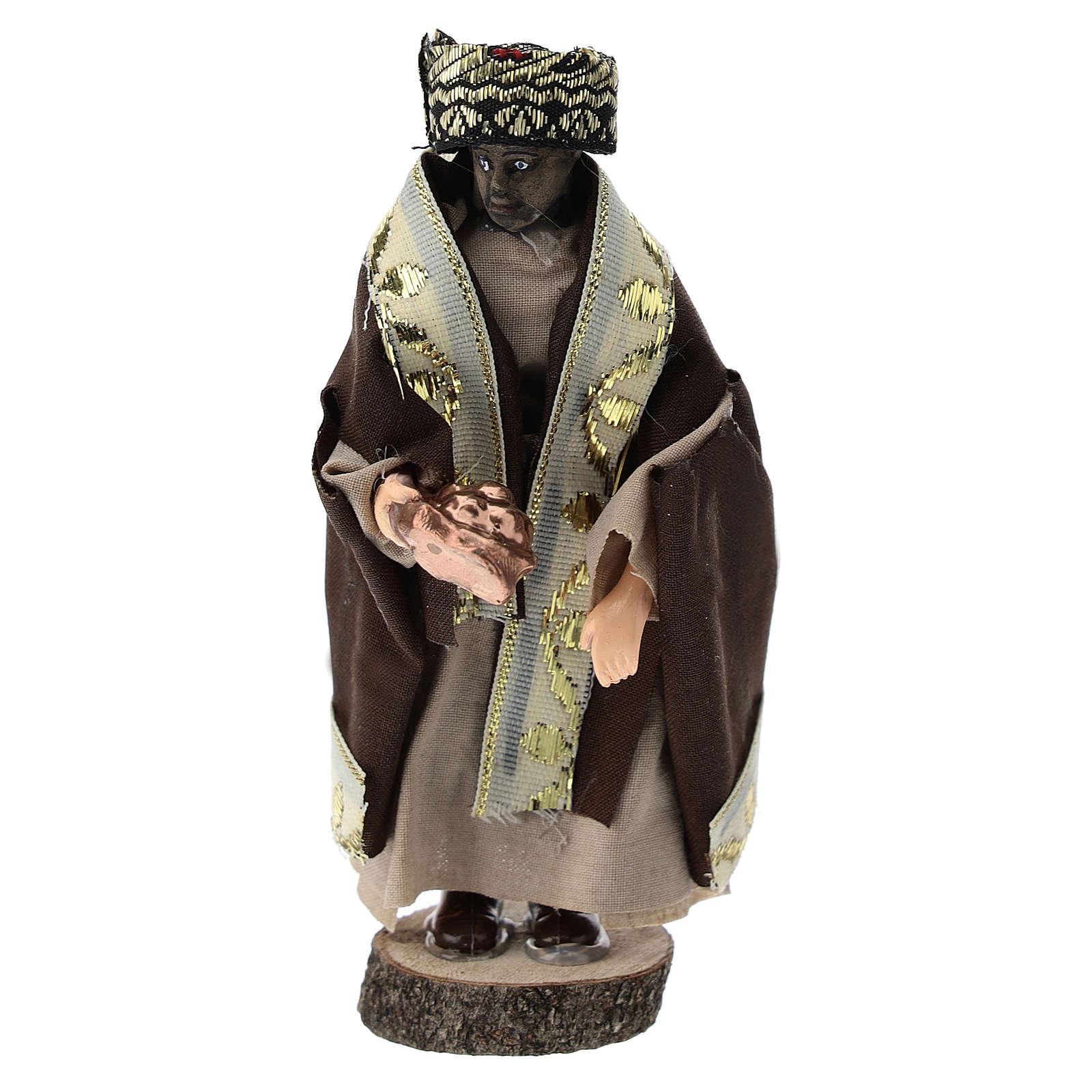 Statue of Moorish King for Nativity scenes of 12 cm in terracotta and plastic 3