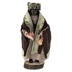 Statue of Moorish King for Nativity scenes of 12 cm in terracotta and plastic s1