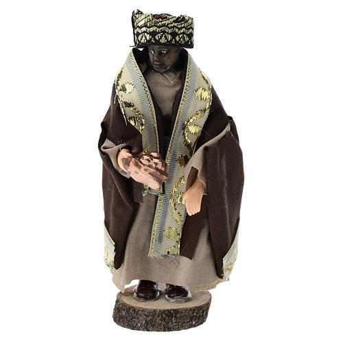 Statue of Moorish King for Nativity scenes of 12 cm in terracotta and plastic 1
