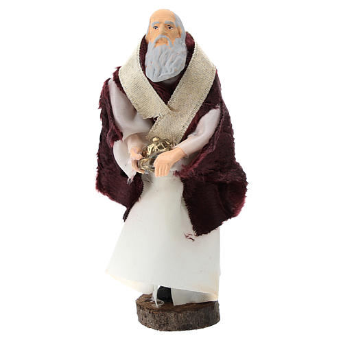 Statue of white king for Nativity scenes of 12 cm in terracotta and plastic 1