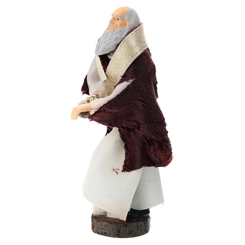 Statue of white king for Nativity scenes of 12 cm in terracotta and plastic 2