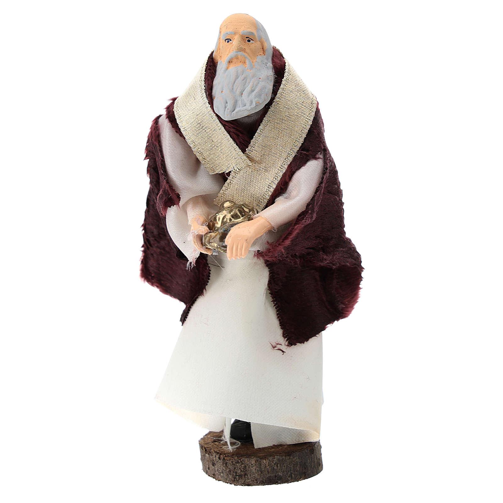 Rey blanco terracota y plástico belén de 12 cm 3