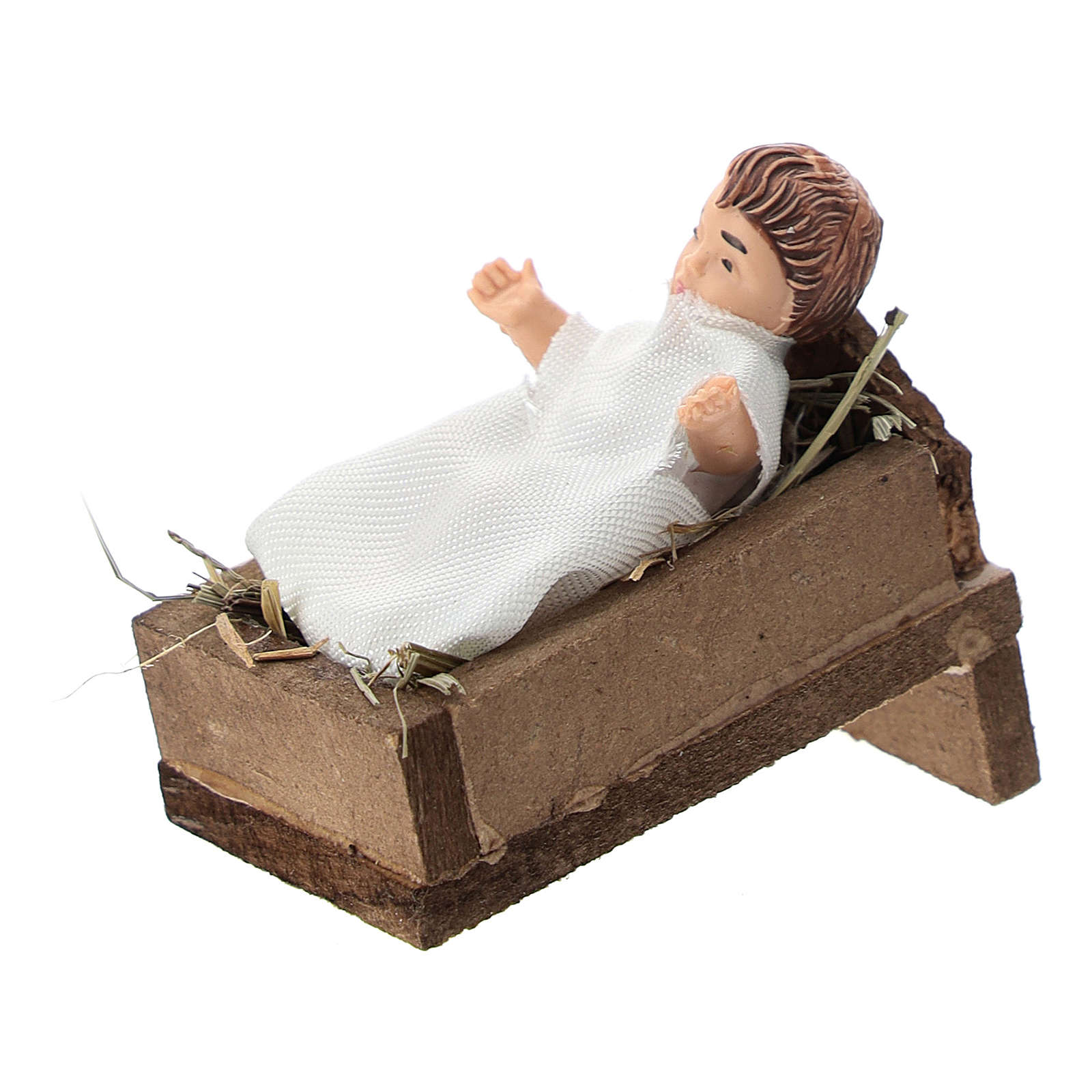 Statue of a baby with a cradle for Nativity scenes of 12 cm in terracotta and plastic 3