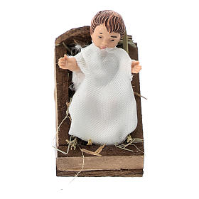 Statue of a baby with a cradle for Nativity scenes of 12 cm in terracotta and plastic s1