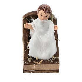 Niño con cuna terracota y plástico belén de 12 cm s1