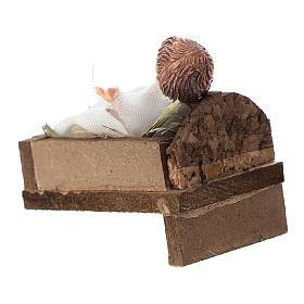Bimbo con culla terracotta e plastica presepe di 12 cm s3