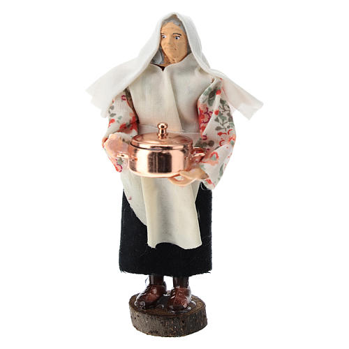 Statue of a woman with pot for Nativity scene of 12 cm in terracotta and plastic 1