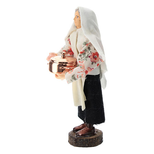 Statue of a woman with pot for Nativity scene of 12 cm in terracotta and plastic 2