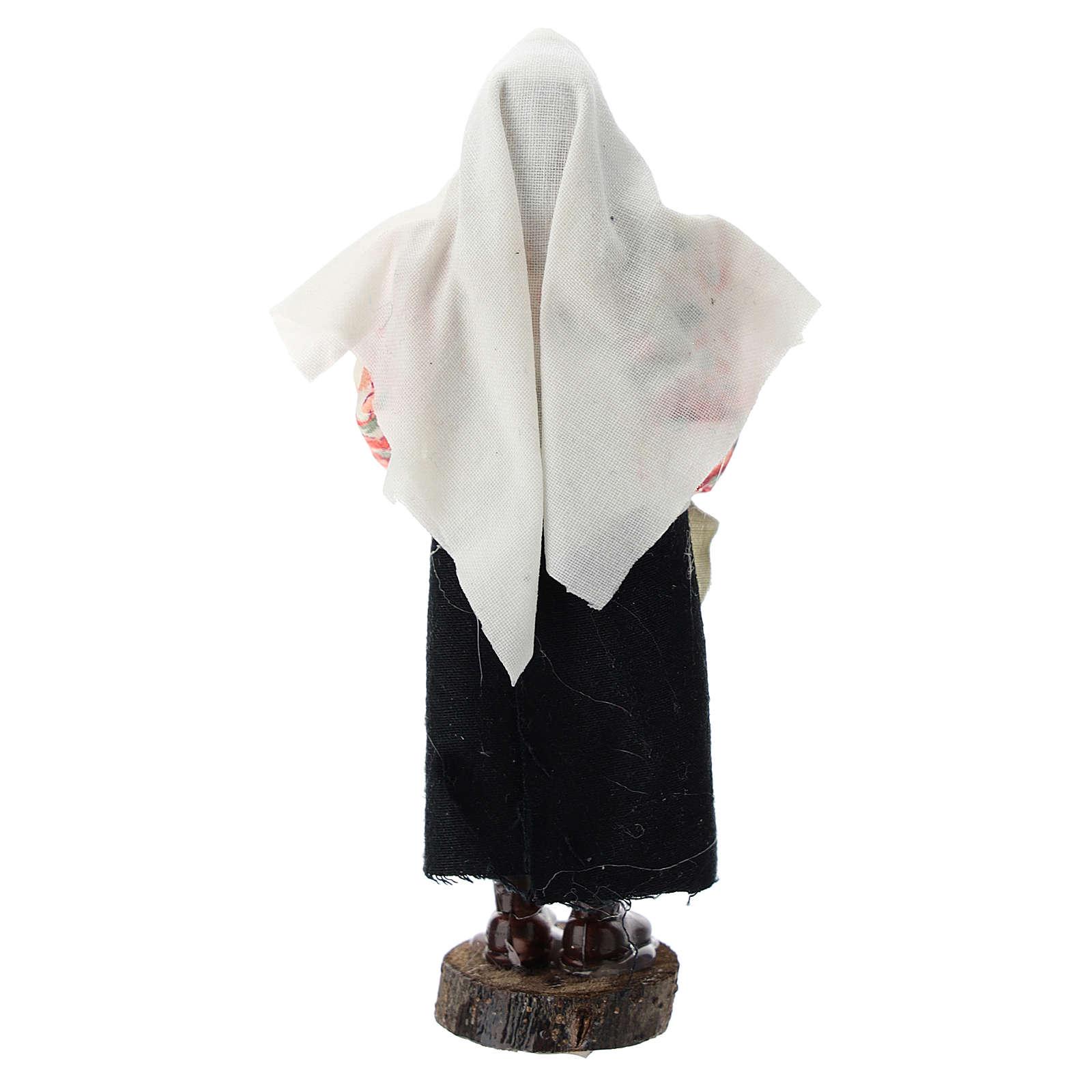 Donna con pentola terracotta e plastica presepe di 12 cm 3