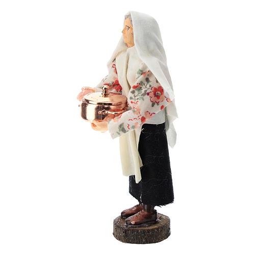 Donna con pentola terracotta e plastica presepe di 12 cm 2