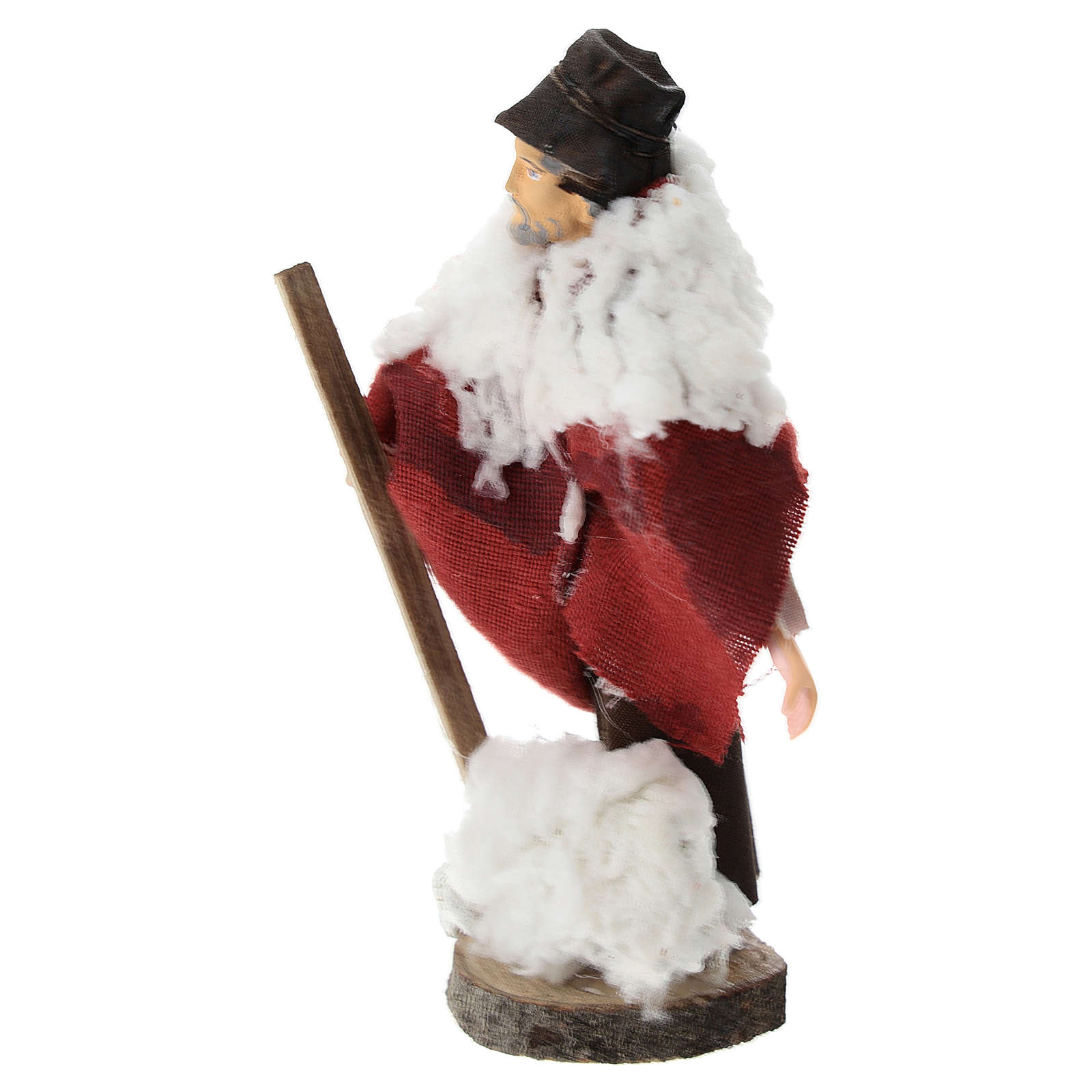 Shepherd with stick and sheep for Nativity scenes of 12 cm in terracotta and plastic 3