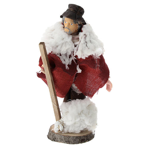 Shepherd with stick and sheep for Nativity scenes of 12 cm in terracotta and plastic 1
