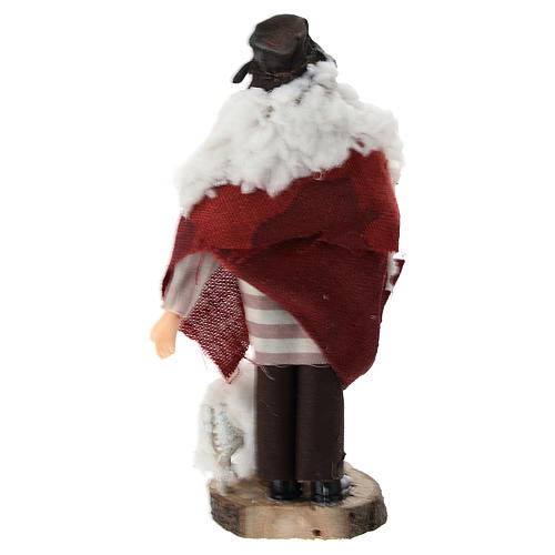 Pastor bastón oveja terracota y plástico belén 12 cm 3