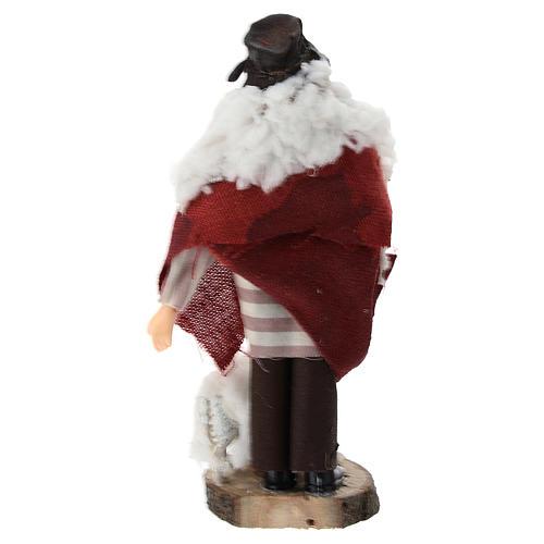 Pastore bastone pecora terracotta e plastica presepe 12 cm 3