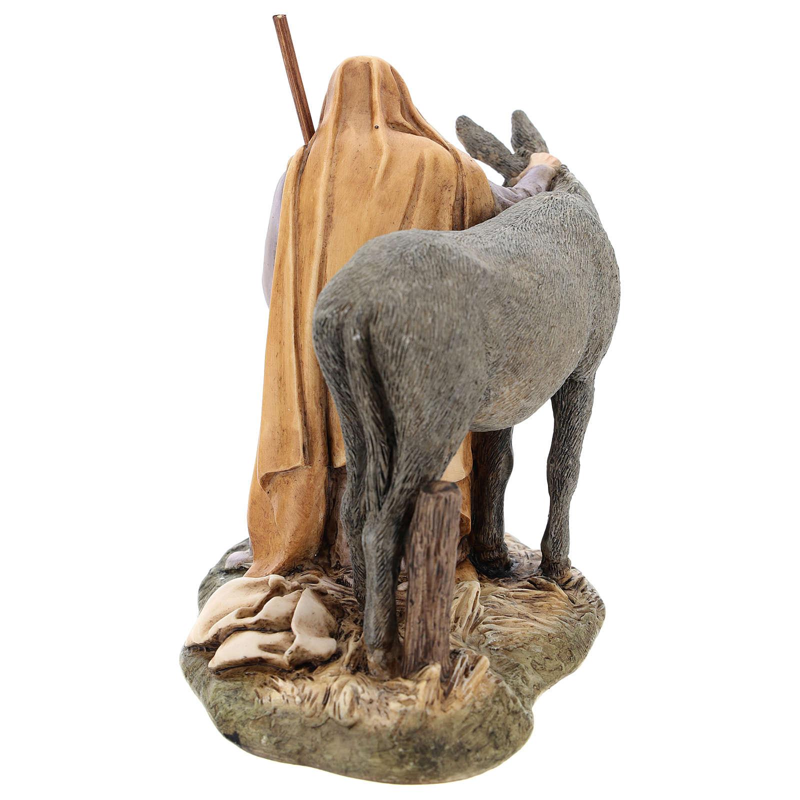 Saint Joseph avec âne Moranduzzo pour crèche de 15 cm 4
