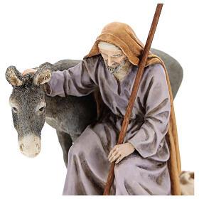 Saint Joseph avec âne Moranduzzo pour crèche de 15 cm s2