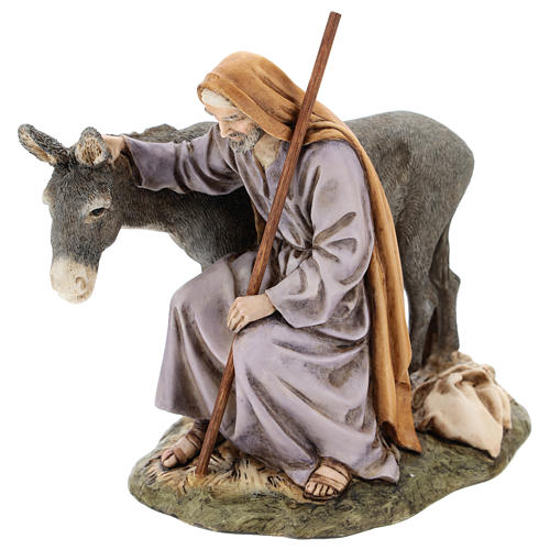 Saint Joseph avec âne Moranduzzo pour crèche de 15 cm 3