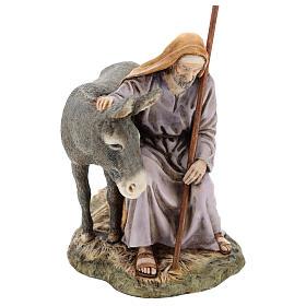San Giuseppe con asino Moranduzzo per presepe di 15 cm s1