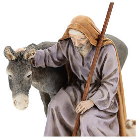 San Giuseppe con asino Moranduzzo per presepe di 15 cm s2